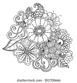 Doodle art flowers. Zentangle floral pattern. Hand drawn herbal design elements.