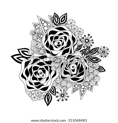 Doodle Art Flowers Zentangle Floral Pattern Stock Vector Royalty