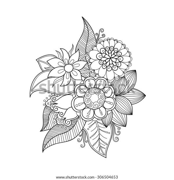 Doodle Art Flowers Zentangle Floral Pattern Stock Vector (Royalty ...