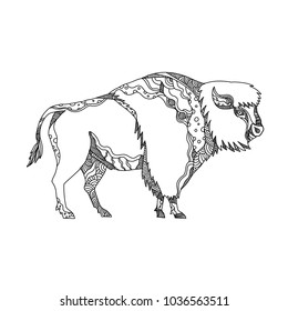 Doodle art illustration of an American bison, bison, American buffalo or simply buffalo, a North American species of bison that once roamed the grasslands of North America done in mandala style.