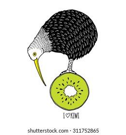 doodle art print of kiwi bird standing on kiwi fruit , kid design