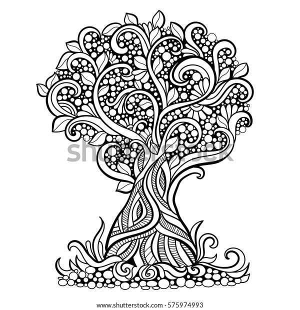Doodle Art Tree Zentangle Floral Pattern Stock Vector