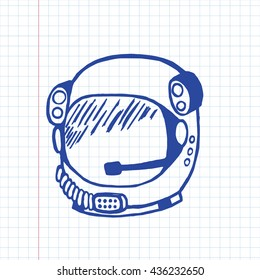 Doodle astronaut helmet.  Vector Illustration on graph paper.