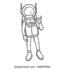 doodle astronaut with shaka hand