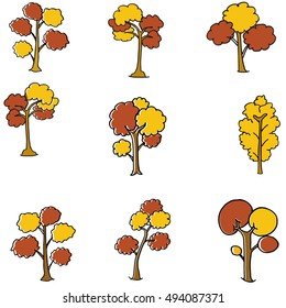 Doodle of auntum tree set collection vector art