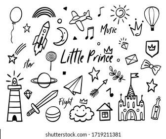 Doodle baby boy little prince sketch set. Collection of black hand drawn symbols. Cute magic crown, star, geometric, sword, shield, castle, airplane for little baby boy. Design kit white background