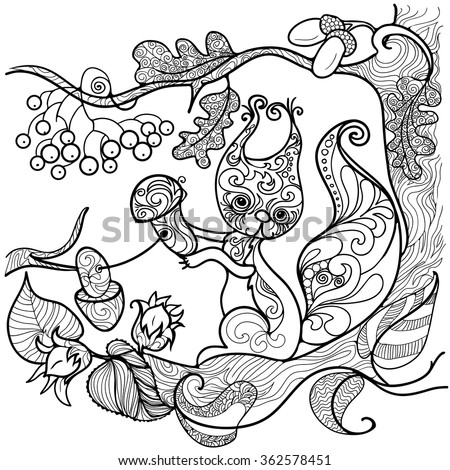 Doodle Background Coloring Pages Adults Stock Vector Royalty Free