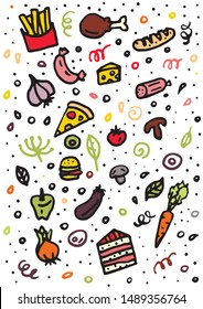 doodle background with food: tomatoes, hamburger, olives, sausage, garlic, onions, peppers, carrots, champignons, bread, loaf, french fries, chicken, cake, cheese, meal, pizza for menu