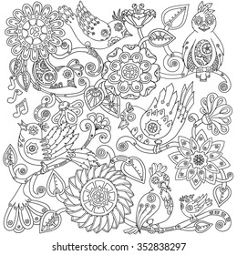 Doodle background in vector with steampunk birds and flowers. Vector ethnic pattern can be used for wallpaper, pattern fills, invitations, coloring books, pages for kids and adults. Black and white.