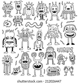 Doodle bacteria germs set. Hand drawn vector illustration.