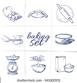 Doodle baking set - Egg steps, roll out dough, sift flour, kneading dough, bake, Cake Tin, Kitchen scales, Meal, Open the egg, hand-drawn. Vector sketch illustration isolated over white background.