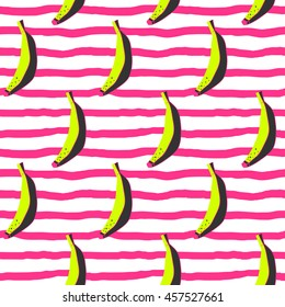 Doodle bananas on stripy background. Seamless pattern.