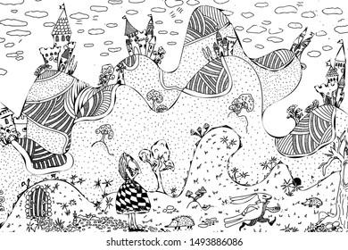 doodle based on alice in wonderland