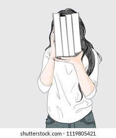 Doodle beautiful woman drawing up after you are ignoring lovers.A woman lifts many books she loves and she loves to read