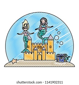 doodle beauty mermaids under water with castle and coffer