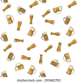 doodle beer glasses pattern, hand drawings, white background