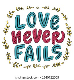 "Doodle Bible quote ""Love never fails"" for poster or postcard"