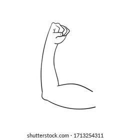 doodle Biceps vector isolated emoji gesture flat illustration. Muscle emoticon cartoon