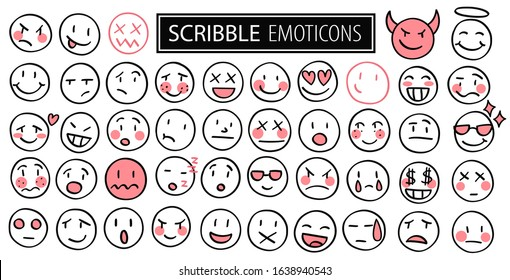 Doodle big set vector hand drawn sketch faces. Scribble black outline drawings isolated emoticons. Vector illustration on white background