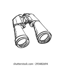 doodle Binoculars isolated on the white background, excellent vector illustration, EPS 10