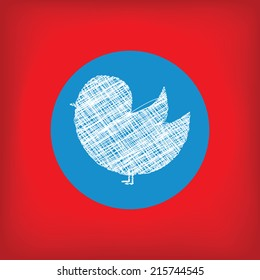 Doodle Bird Icon In Blue Circle On Red Background Social Network Concept