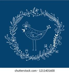 Doodle birdie in a floral circle