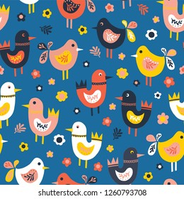 Doodle birds and flowers seamless vector pattern. Scandinavian flat style cute birds red, blue, pink, white. For fabric, kids decor, covers, easter, kids birthday, childrens wear