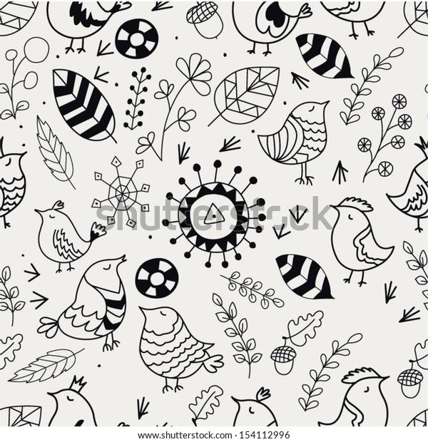 Doodle Birds Seamless Pattern