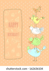 Doodle birthday card with birds. EPS 10. No transparency. No gradients.