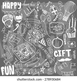 Doodle Birthday party background. Hand drawn unique.