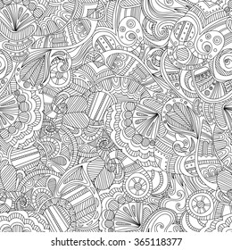 Doodle black and white abstract hand drawn background. Wavy zentangle style seamless pattern.