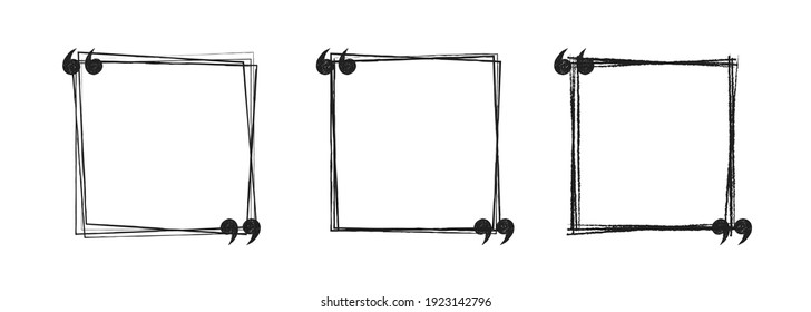 doodle black and white hand drawn square sketch Speach bubbles. Vector line art illustration