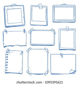 Doodle blank memo, notepaper. Hand drawn school notice and photo frames isolated vector set. Note paper sketch, sheet empty for message illustration