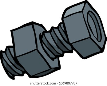 Doodle bolt with nut on a white background vector illustration