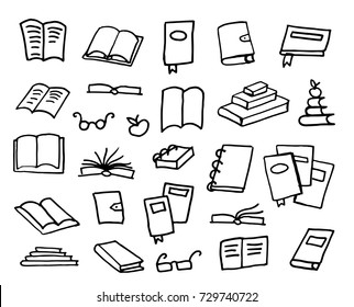Doodle book collection, vector illustration