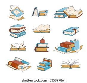 Doodle books, hand drawn novel, encyclopedia, story, dictionary vector icons. Book literature to school, set of books for reading and education illustration.