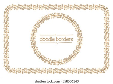 Doodle Borders. Vector Seamless Pattern Brushes