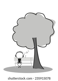 Doodle Boy listen to music while sitting on a park bench under a tree