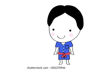 doodle boy in Thai country clothes  fashion  hand draw cartoon vector eps.10