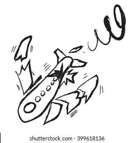 doodle broken plane, vector icon illustration