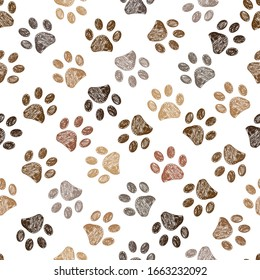 Doodle brown paw prints seamless vector pattern for fabric design