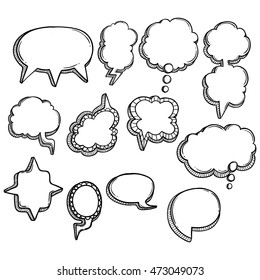 doodle bubble speech collection with outline
