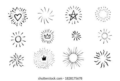 Doodle burst in vintage style on white background. Black vector hand drawn sketch illustration. Sun, starburst, sparkle, sunburst set. Line sparkle explosion. Marker handdrawn line. Retro spark shine