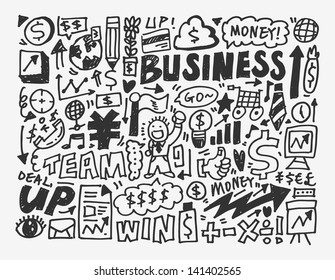 doodle business element,cartoon vector illustration