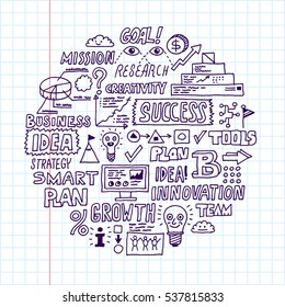 Doodle Business People with Graph and Charts. Hand Drawn Vector Circle Color Illustration.
