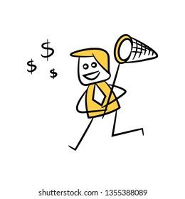 doodle businessman using hand net to catch money