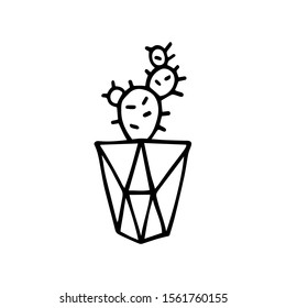 Doodle Cactus in a faceted pot. Scratchy hand-drawn succulent with poly flower pot. Black outline of a home plant isolated on a white background. Cute illustration with polygonal interior element