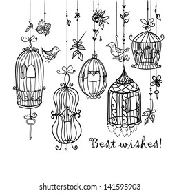 Doodle cages with birds.