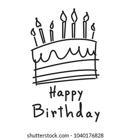 Birthday Cake Line Drawing Stock Vectors Images Vector Art