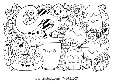 Doodle of Candy. Cute cartoons in kawaii style. Coloring book anti-stress